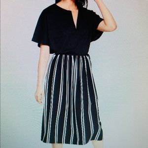 NWT Who What Wear Striped Mid Rise Full Knit Skirt